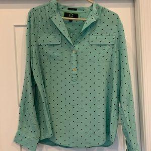 Light blue polka dot blouse